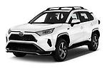 2021 Toyota RAV4-Prime SE 5 Door SUV Angular Front automotive stock photos of front three quarter view