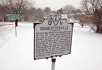 Snow covered in Charlottesville, Va.