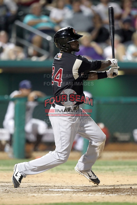 Jai Miller #24 of the Sacramento RiverCats plays in a Pacific Coast League game against the Tucson Padres at Kino Stadium on June 24, 2011  in Tucson, Arizona. Bill Mitchell/Four Seam Images.