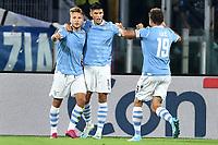 Ciro Immobile of SS Lazio celebrates with Joaquin Correa and Senad Lulic after scoring the goal of 1-0 for his side <br /> Roma 22-9-2019 Stadio Olimpico <br /> Football Serie A 2019/2020 <br /> SS Lazio - Parma Calcio <br /> Foto Andrea Staccioli / Insidefoto