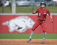 Arkansas outfielder K.B Sides leads off of second base Saturday, Oct. 9, 2021, during play against Butler Community College at Bogle Park in Fayetteville. Visit nwaonline.com/211010Daily/ for today's photo gallery.<br /> (NWA Democrat-Gazette/Andy Shupe)