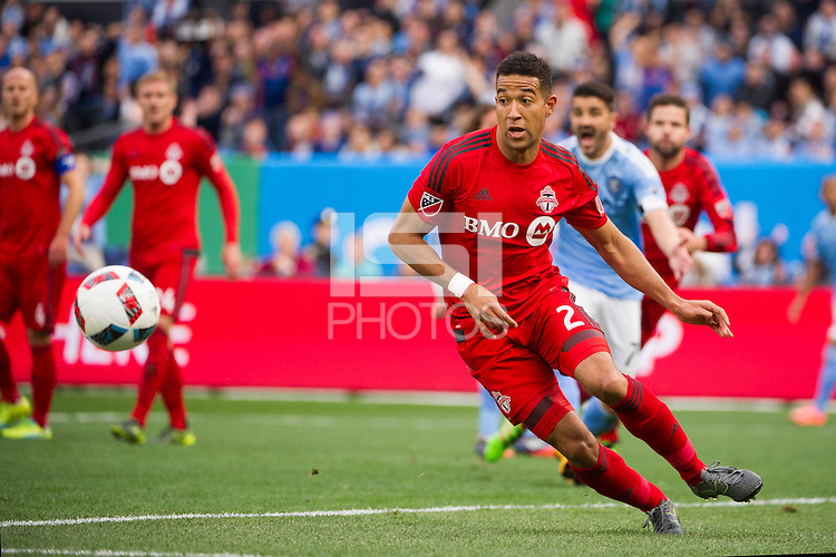 BRONX, NY - Sunday March 13, 2016: New York City FC ties Toronto FC 2-2 in their home opener at home at Yankee Stadium in 2016 regular season MLS play.