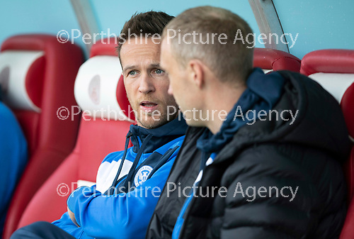 Hamilton Accies v St Johnstone…08.05.18…  New Douglas Park    SPFL<br />Chris Millar and Steven Anderson on the saints bench<br />Picture by Graeme Hart. <br />Copyright Perthshire Picture Agency<br />Tel: 01738 623350  Mobile: 07990 594431