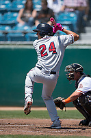 Lancaster JetHawks third baseman Colton Welker (24) at bat during a California League game against the San Jose Giants at San Jose Municipal Stadium on May 13, 2018 in San Jose, California. San Jose defeated Lancaster 3-0. (Zachary Lucy/Four Seam Images)