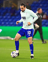 28th September 2021; Cardiff City Stadium, Cardiff, Wales;  EFL Championship football, Cardiff versus West Bromwich Albion; Ciaron Brown of Cardiff City controls the ball during warm up