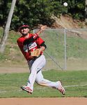 Whittier High school shortstop makes off balance throw against La Serna High school.