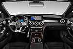 Stock photo of straight dashboard view of 2019 Mercedes Benz C-CLass 63-AMG 4 Door Sedan Dashboard