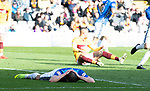 Motherwell v St Johnstone….30.03.19   Fir Park   SPFL<br />Chris Kane reacts after mssing a good chance<br />Picture by Graeme Hart. <br />Copyright Perthshire Picture Agency<br />Tel: 01738 623350  Mobile: 07990 594431