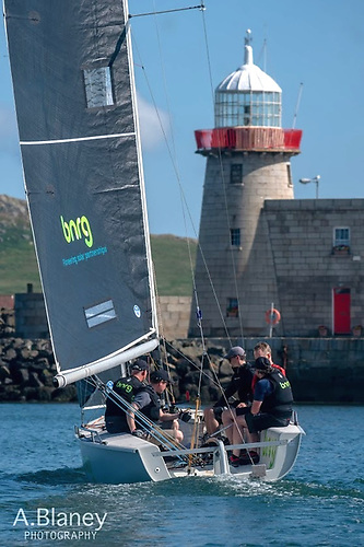 BNRG (David Maguire) heading out of Howth Harbour on Saturday morning with all the promise of an idyllic day of sea breeze racing. Photo: Annraoi Blaney