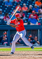 28 February 2017: Washington Nationals outfielder Michael Taylor in action during the Spring Training inaugural game against the Houston Astros at the Ballpark of the Palm Beaches in West Palm Beach, Florida. The Nationals defeated the Astros 4-3 in Grapefruit League play. Mandatory Credit: Ed Wolfstein Photo *** RAW (NEF) Image File Available ***