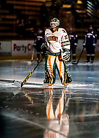 9 February 2018: University of Vermont Catamount Goaltender Sydney Scobee, a Sophomore from Minnetrista, MN, is introduced in the spotlight prior to a game against the University of Connecticut Huskies at Gutterson Fieldhouse in Burlington, Vermont. The Lady Cats shut out the Huskies 1-0 in the first game of their weekend Hockey East series. Mandatory Credit: Ed Wolfstein Photo *** RAW (NEF) Image File Available ***