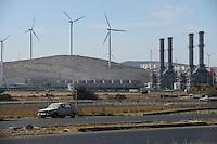 TURKEY Aliaga, windfarm with Nordex N90 wind turbines and industrial plant  / TUERKEI Aliaga, Nordex N90 Windkraftanlagen des Windpark von Bilgin Enerji und Industrieanlage