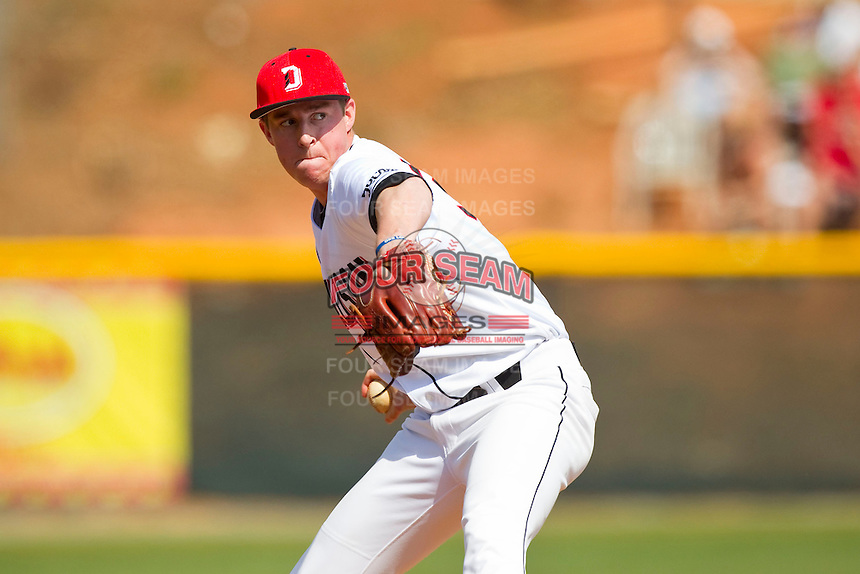 Davidson Wildcats relief pitcher Matt Saeta (35) in action against the Western Carolina Catamounts at Wilson Field on March 10, 2013 in Davidson, North Carolina.  The Catamounts defeated the Wildcats 5-2.  (Brian Westerholt/Four Seam Images)