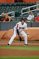 Aberdeen IronBirds Adley Rutschman (35) leads off first base during a NY-Penn League game against the Vermont Lake Monsters on August 19, 2019 at Leidos Field at Ripken Stadium in Aberdeen, Maryland.  Aberdeen defeated Vermont 6-2.  (Mike Janes/Four Seam Images)