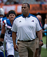 Vancouver, September, 09, 2016 - Former Alouette now turned defensive coach Anwar Stewart on the BC gridiron. The Montreal Alouettes lost to the BC Lions 27-38. (Andrew Soong)