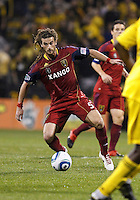 24 APRIL 2010:  Real Salt Lakes' Kyle Beckerman (5) during the Real Salt Lake at Columbus Crew MLS soccer game in Columbus, Ohio. Columbus Crew defeated RSL 1-0 on April 24, 2010.