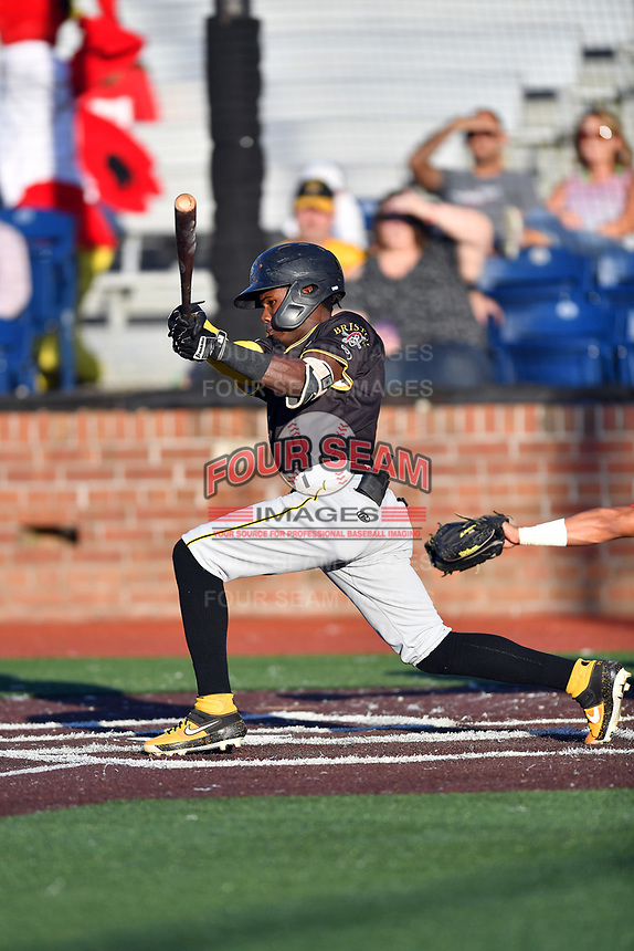 Bristol Pirates Jesus Valdez (3) swings at a pitch during game two of the Appalachian League, West Division Playoffs against the Johnson City Cardinals at TVA Credit Union Ballpark on August 31, 2019 in Johnson City, Tennessee. The Cardinals defeated the Pirates 7-4 to even the series at 1-1. (Tony Farlow/Four Seam Images)