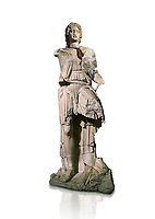 Roman statue of Alexander The Great. Marble. Perge. 2nd century AD. Inv no 2.23.93. Antalya Archaeology Museum; Turkey. Against a white background.