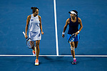 Jing-Jing Lu (R) and Shuai Zhang (L) of China talk during the doubles Round Robin match of the WTA Elite Trophy Zhuhai 2017 against Xinyu Jiang and Qianhui Tang of China at Hengqin Tennis Center on November  04, 2017 in Zhuhai, China. Photo by Yu Chun Christopher Wong / Power Sport Images