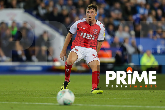 Chris Long of Fleetwood Town during the English League Cup Round 2 Group North match between Leicester City and Fleetwood Town at the King Power Stadium, Leicester, England on 28 August 2018. Photo by David Horn.