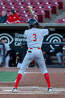 Great Lakes Loons infielder Brendon Davis (3) at bat during a Midwest League game against the Wisconsin Timber Rattlers on April 26th, 2016 at Fox Cities Stadium in Appleton, Wisconsin.  Wisconsin defeated Great Lakes 4-3. (Brad Krause/Four Seam Images)