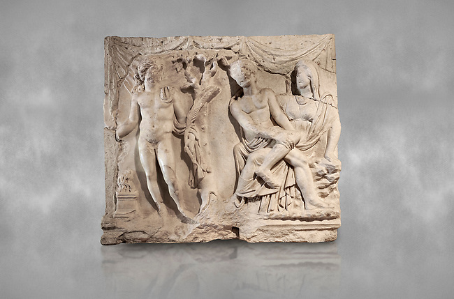 Roman relief sculpture of the Myth of Adonis. Roman 2nd century AD, Hierapolis Theatre.. Hierapolis Archaeology Museum, Turkey