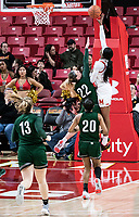COLLEGE PARK, MD - DECEMBER 8: Kaila Charles #5 of Maryland goes up over Bri Rozzi #22 of Loyola for a shot during a game between Loyola University and University of Maryland at Xfinity Center on December 8, 2019 in College Park, Maryland.