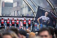 StuBru Stijn Vlaeminck interviewing Edward Theuns during the pre race team presentation. <br /> <br /> 82nd Gent – Wevelgem in Flanders Fields 2019 (1.UWT)<br /> Deinze – Wevelgem: 251,5km<br /> ©kramon