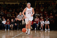 STANFORD, CA - NOVEMBER 26: Jeanette Pohlen of Stanford women's basketball moves the ball upcourt in a game against South Carolina on November 26, 2010 at Maples Pavilion in Stanford, California.  Stanford topped South Carolina, 70-32.