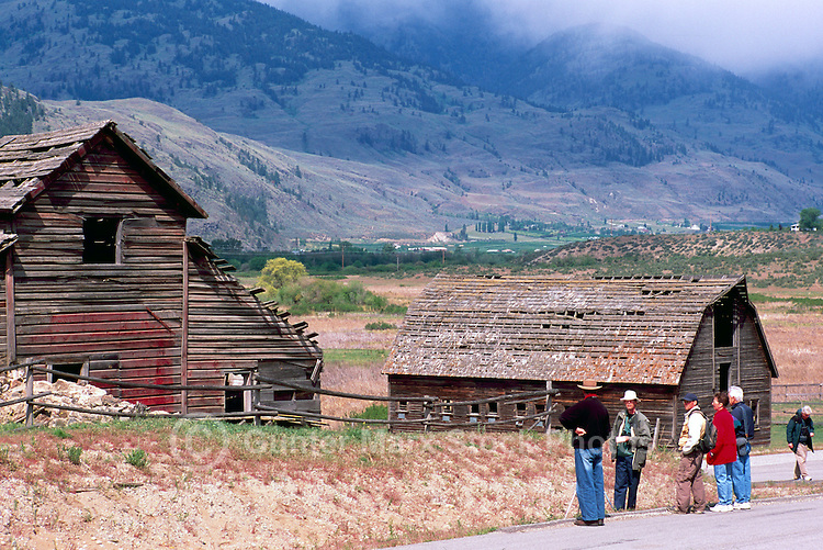Old Wood Heritage Farm House and Barn on Haynes Ranch near Osoyoos, South Okanagan Valley, BC, British Columbia, Canada - Bird Watchers on Field Trip
