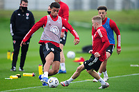 Brennan Johnson of Wales in action during the Wales Training Session at The Vale Resort in Cardiff, Wales, UK. Monday 5 October 2020