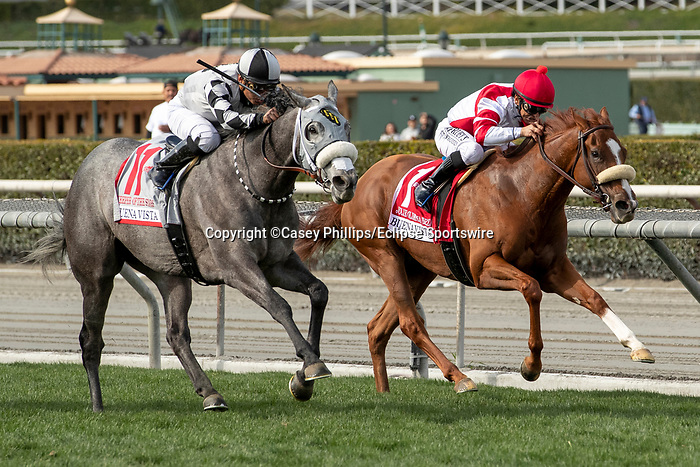 ARCADIA, CA  FEBRUARY 22: #11 Keeper Ofthe Stars, ridden by Abel Cedillo, and #1 Jolie Olimpica, ridden by Mike Smith, lock up in the stretch of Buena Vista Stakes (Grade ll) on February 22, 2020 at Santa Anita Park in Arcadia, CA.  (Photo by Casey Phillips/Eclipse Sportswire/CSM)