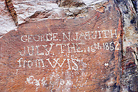 George N. Jaquith pioneer rock carving from 1852. Alpegate Trail. High Rock Canyon. Black Rock Desert National Conservation area. Nevada.