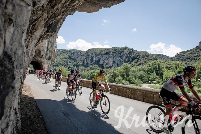 yellow jersey / GC leader Tadej Pogacar (SVN/UAE-Emirates) rolling through the spectacular Gorges de l'Ardèche<br /> <br /> Stage 12 from Saint-Paul-Trois-Châteaux to Nîmes (159km)<br /> 108th Tour de France 2021 (2.UWT)<br /> <br /> ©kramon