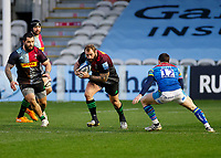 13th February 2021; Twickenham Stoop, London, England; English Premiership Rugby, Harlequins versus Leicester Tigers; Marler of Harlequins taking the ball up centre field in attack