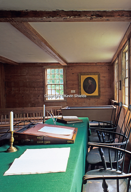 Interior of the Pownalborough Court House, built in 1761, the oldest court building in Maine, USA. John Adams practiced law here in the 1770's and later became the second president of the young nation of the United States of America.