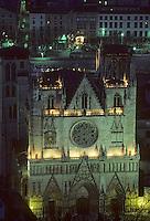 Europe/France/Rhône-Alpes/69/Rhône/Lyon: L'église primatiale Saint-Jean (Gothique) vue de nuit