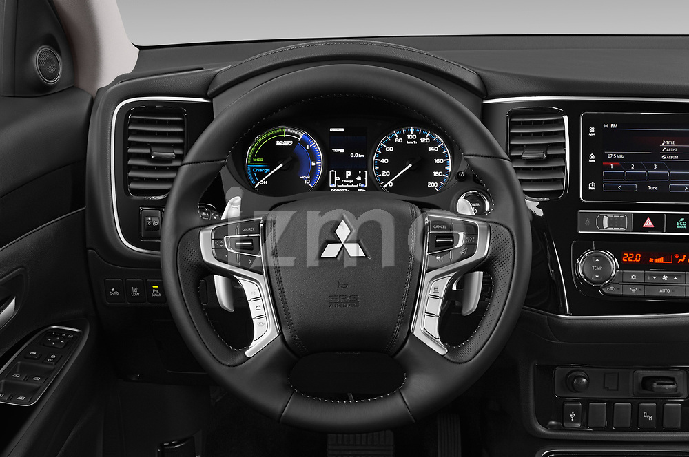 Car pictures of steering wheel view of a 2019 Mitsubishi Outlander PHEV Intense 5 Door SUV