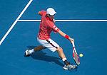 Kei Nishikori (JPN) defeats Novak Djokovic (SRB) 6-4, 1-6, 7-6, 6-3 at the US Open being played at USTA Billie Jean King National Tennis Center in Flushing, NY on September 6, 2014