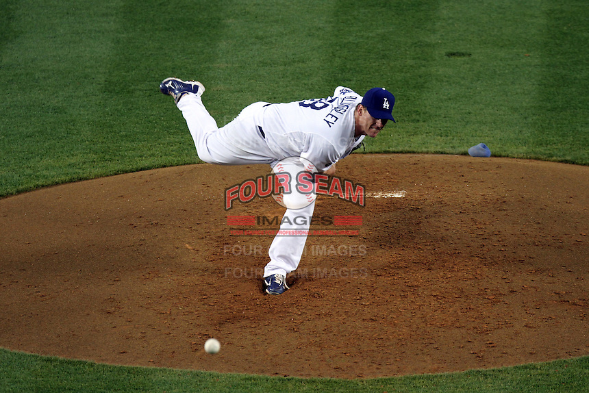 Los Angeles Dodgers pitcher Chad Billingsley #58 pitches against the Detroit Tigers at Dodger Stadium on June 21, 2011 in Los Angeles,California. (Larry Goren/Four Seam Images)