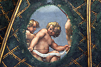 Dettaglio degli affreschi di Correggio nella cupola della Camera di San Paolo a Parma.<br /> Detail of the frescoed dome by Correggio in the Camera di San Paolo (St. Paul's Room), Parma.<br /> UPDATE IMAGES PRESS/Riccardo De Luca