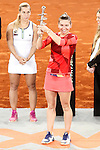 Simona Halep, Roumania, celebrates the victory in the Madrid Open Tennis 2016 Final match in presence of Slovakia's Dominika Cibulkova, Finalist .May, 7, 2016.(ALTERPHOTOS/Acero)a