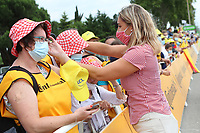 6th July 2021, Albertville, Auvergne-Rhône-Alpes, France; TOUR DE FRANCE 2021- UCI Cycling World Tour. Stage 10 from Albertville to Valence on the 6th of July 2021, Fans receive advertising caps