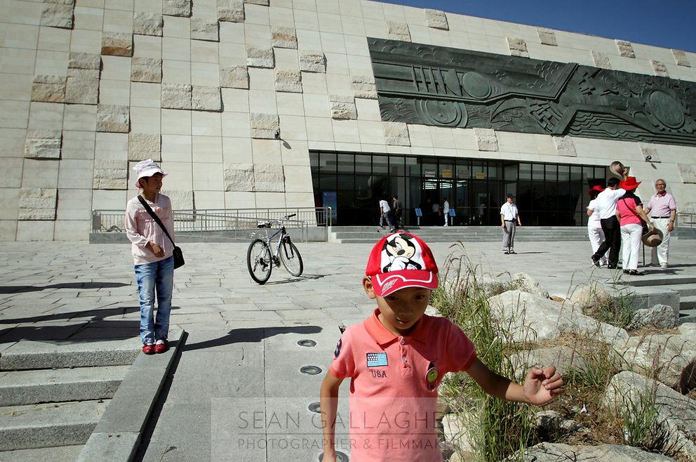 CHINA. Outside the museum dedicated to China's first nuclear weapons programme in Xihai Township, or 'Atomic City'. It was the place where China's first atomic bomb was made and tested, on the Qinghai-Tibet Plateau in western China. 2010