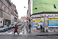 """FRANKREICH, 26.11.2015, Paris.  Der Vorort-Bezirk Saint-Denis ist gepraegt durch seine vielen muslimischen Zuwanderer. Hier liegt das """"Stade de France"""", einer der Orte der Terroranschlaege vom 13.11 und hier lieferte sich die Polizei die schwere Schiesserei mit einigen der beteiligten Islamisten am 18.11. - Sanierungsobjekte.   The suburban district of Saint-Denis is characterized by its dense muslim immigrant population. Here """"Stade de France"""" is located, one of the places of the Paris terrorist attacks on Nov. 13 and here the police had a heavy shootout with some of the islamists involved on Nov. 18. - Buildings to be renovated.<br /> � Arturas Morozovas/EST&OST"""