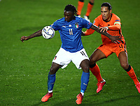 Football: Uefa Nations League Group A match Italy vs Netherlands at Gewiss stadium in Bergamo, on October 14, 2020.<br /> Italy's Moise Kean (l) in action with Netherlands' captain Virgil van Dijk (r) during the Uefa Nations League match between Italy and Netherlands at Gewiss  stadium in Bergamo, on October 14, 2020. <br /> UPDATE IMAGES PRESS/Isabella Bonotto