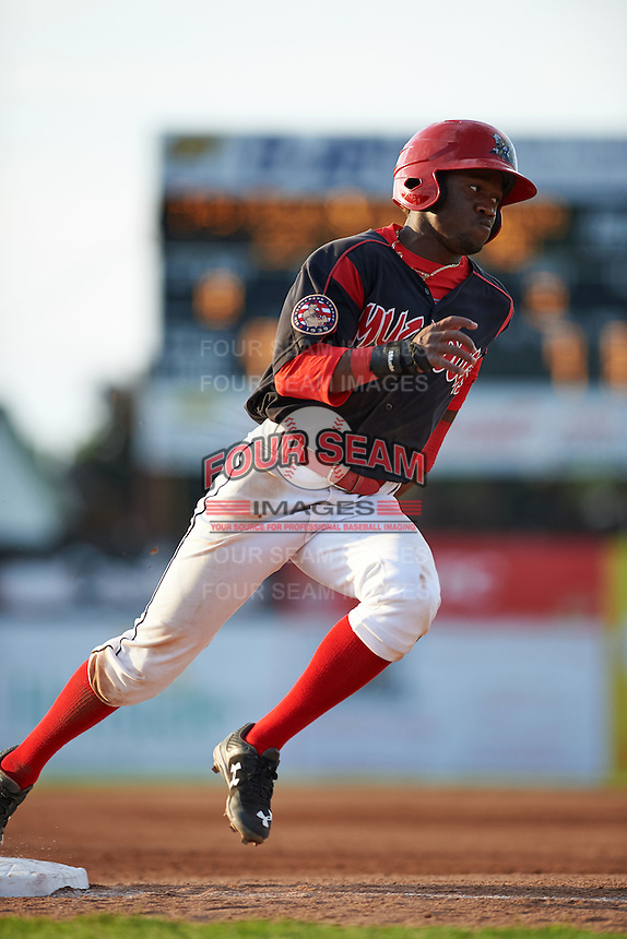 Batavia Muckdogs shortstop Anfernee Seymour (3) during a game against the Mahoning Valley Scrappers on July 3, 2015 at Dwyer Stadium in Batavia, New York.  Batavia defeated Mahoning Valley 7-4.  (Mike Janes/Four Seam Images)
