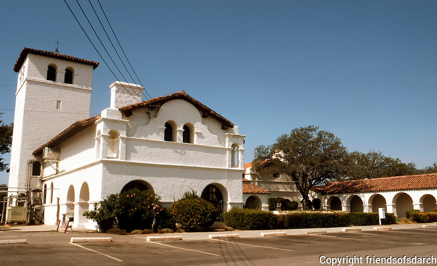 "Julia Morgan: Las Milpitas, early 1900's. A ""Hunting Lodge"" for Hearst, modeled on nearby San Antonio Mission. Photo '76."