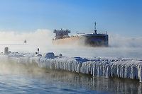 Edwin H. Gott arrives in Two Harbors on a -10°F morning to load iron ore pellets.