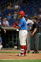 Clearwater Threshers Rodolfo Duran (19) at bat during a Florida State League game against the Tampa Tarpons on April 18, 2019 at Spectrum Field in Clearwater, Florida.  Clearwater defeated Tampa 10-3.  (Mike Janes/Four Seam Images)